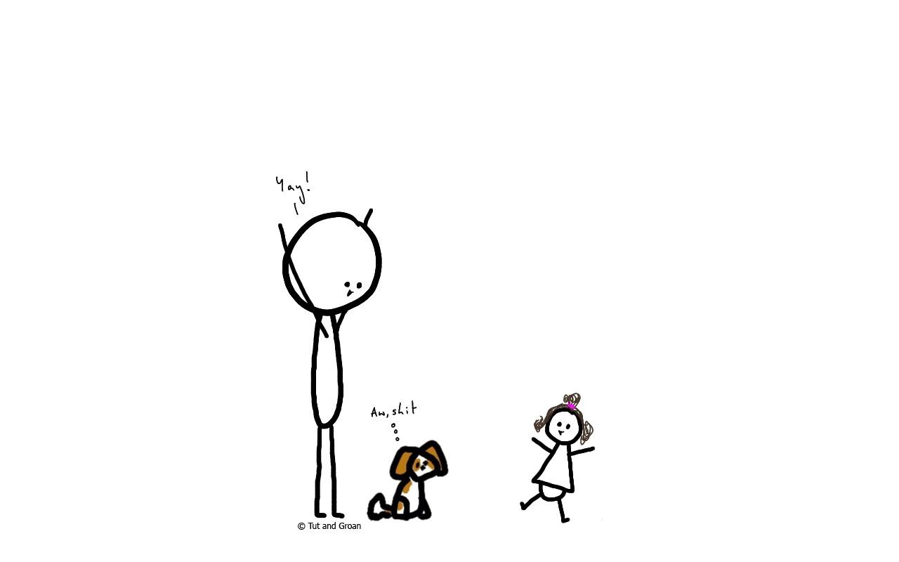 Tut and Groan Baby is Walking cartoon