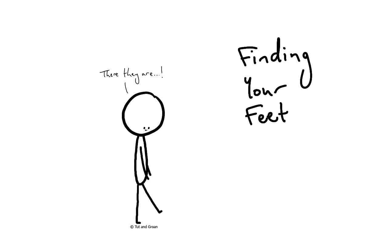 Tut and Groan Finding Your Feet cartoon