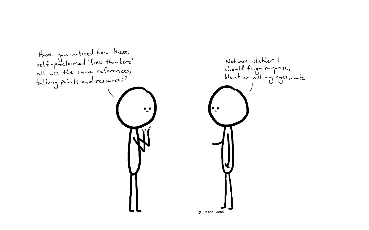 Tut and Groan Free Thinkers cartoon